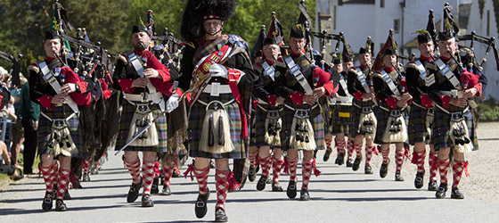© Scottish Viewpoint - The Atholl Highlanders Parade held annually in May at Blair Castle, home of Europe's only legal private army, Blair Atholl, Perthshire.